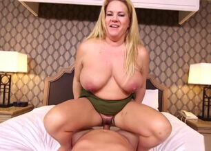 Big tit mom handjob